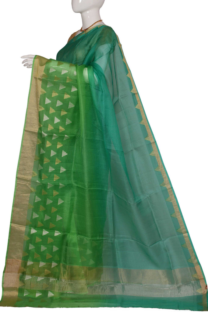 Green Pure Chanderi Handloom Silk Saree