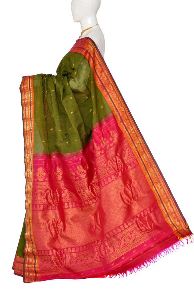 Green Pure Gadwal Jamdani  Silk Cotton Saree