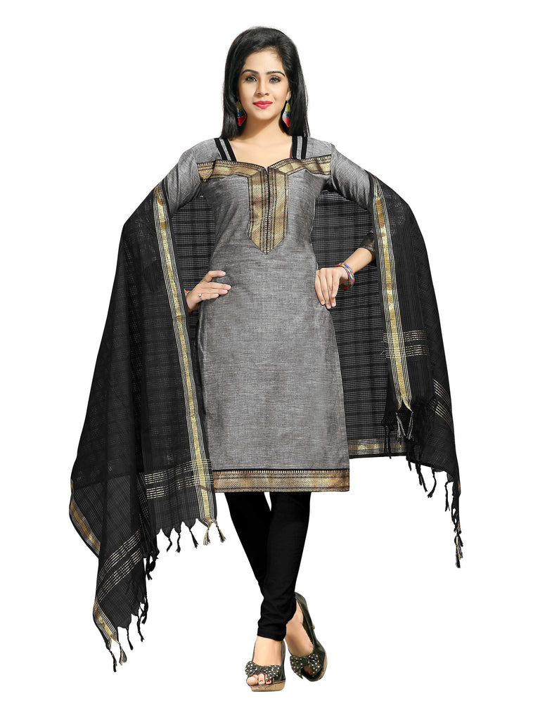 Grey Mangalagiri Pure Cotton Unstitched Salwar Kameez 0911250122