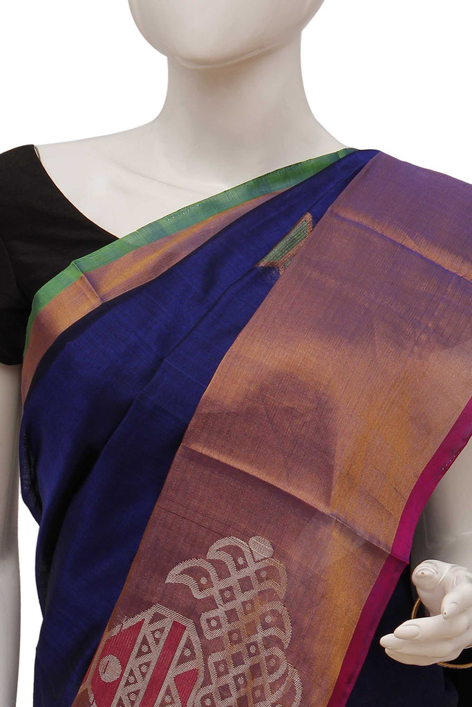 Indigo Kanchipuram Handloom Pure Silk Cotton Saree
