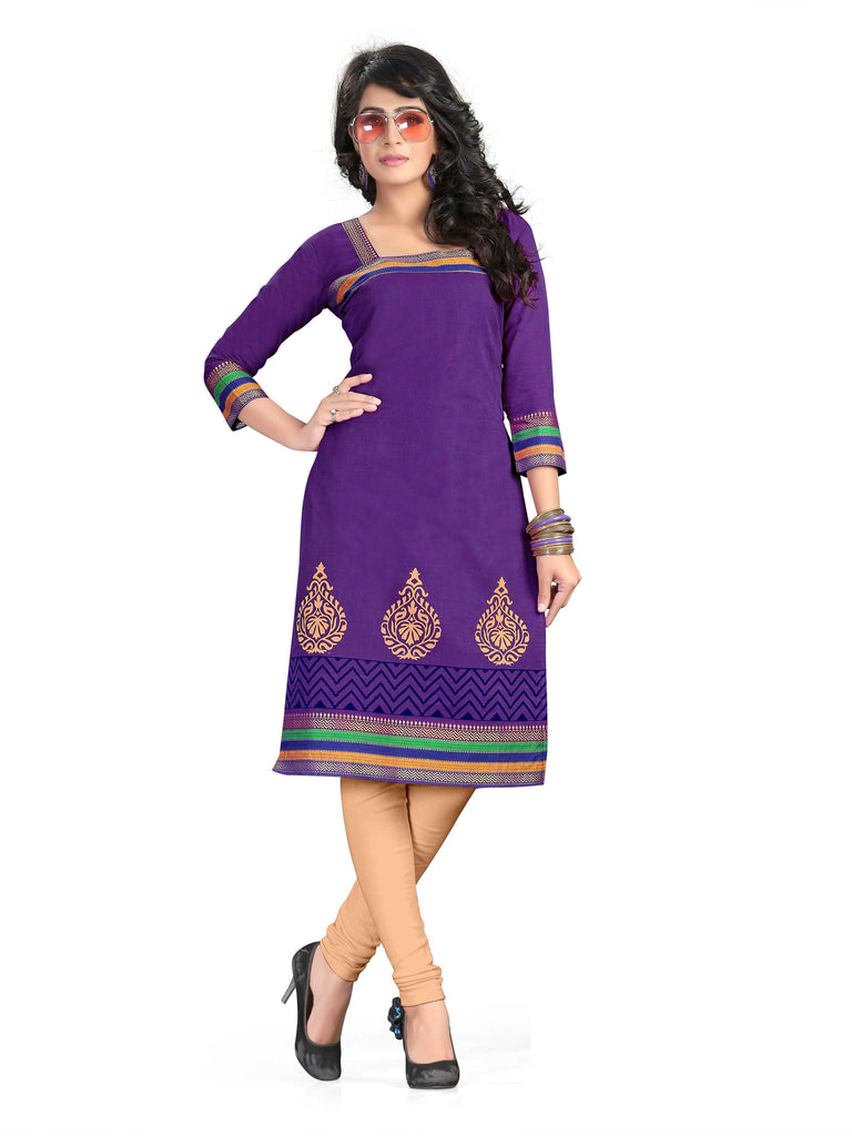 Indigo Printed South Pure Cotton Unstitched Salwar Kameez