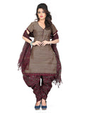 Lavender Brown Printed Kalamkari Pure Cotton Unstitched Salwar Kameez