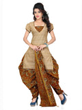 Light Brown Printed Kalamkari Pure Cotton Unstitched Salwar Kameez