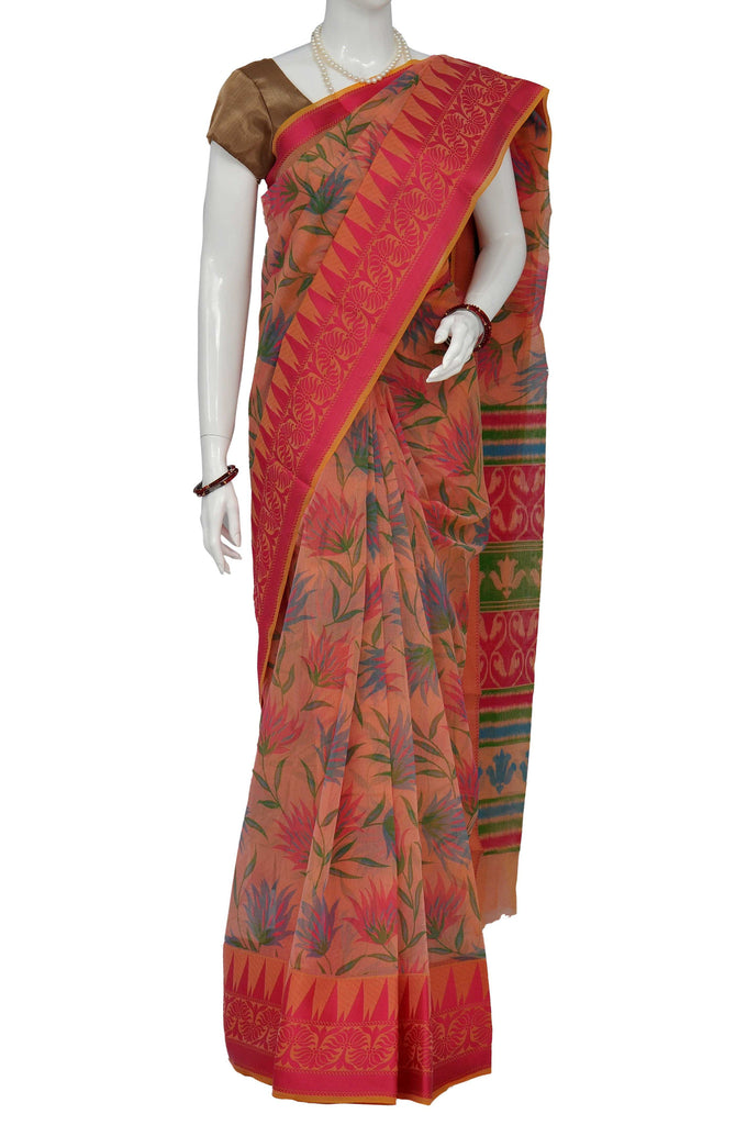 Light Coral Banaras Handloom Pure Cotton Saree