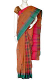 Light Coral  Partly Pallu Bengal Handloom Pure Cotton Saree