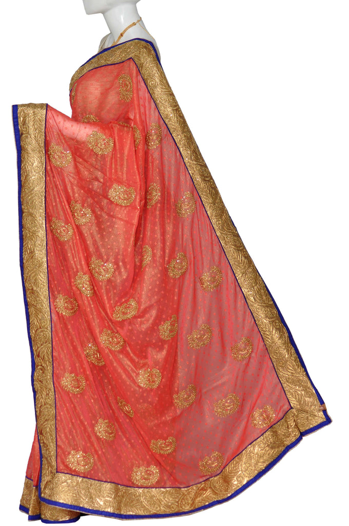 Light Coral Zardosi Chiffon Saree