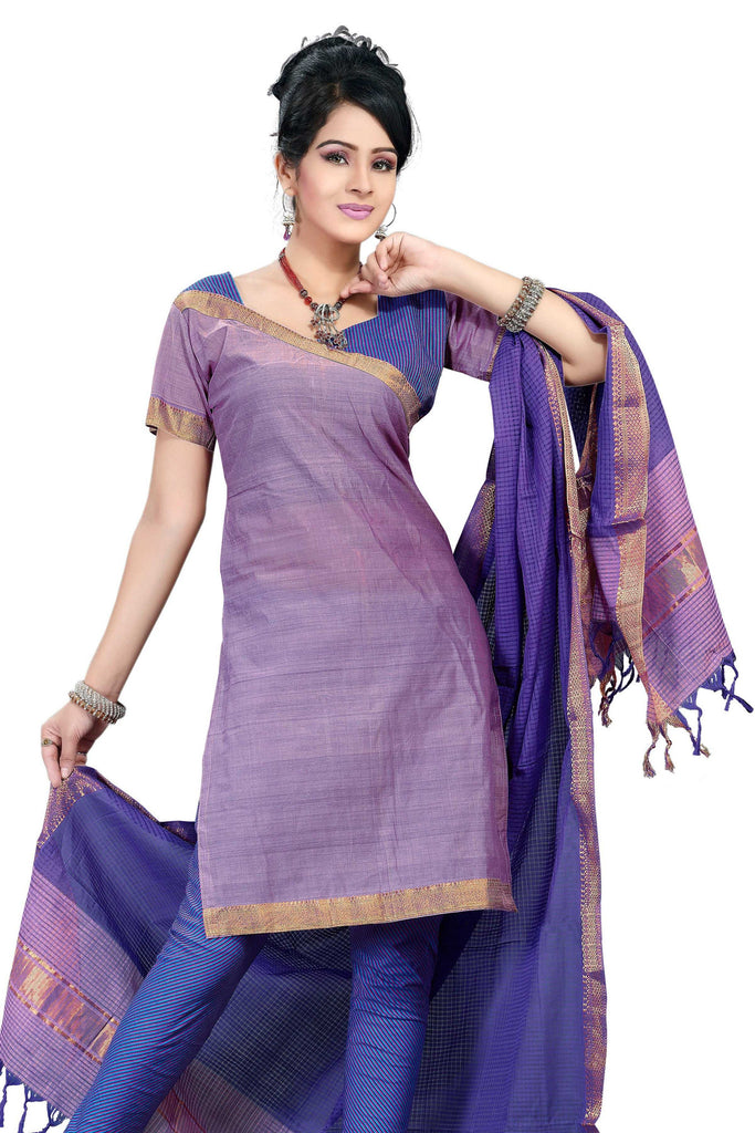 Light Purple Mangalagiri Pure Cotton Unstitched Salwar Kameez