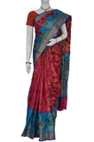 Light Red & Azure Pure Crepe Silk Saree