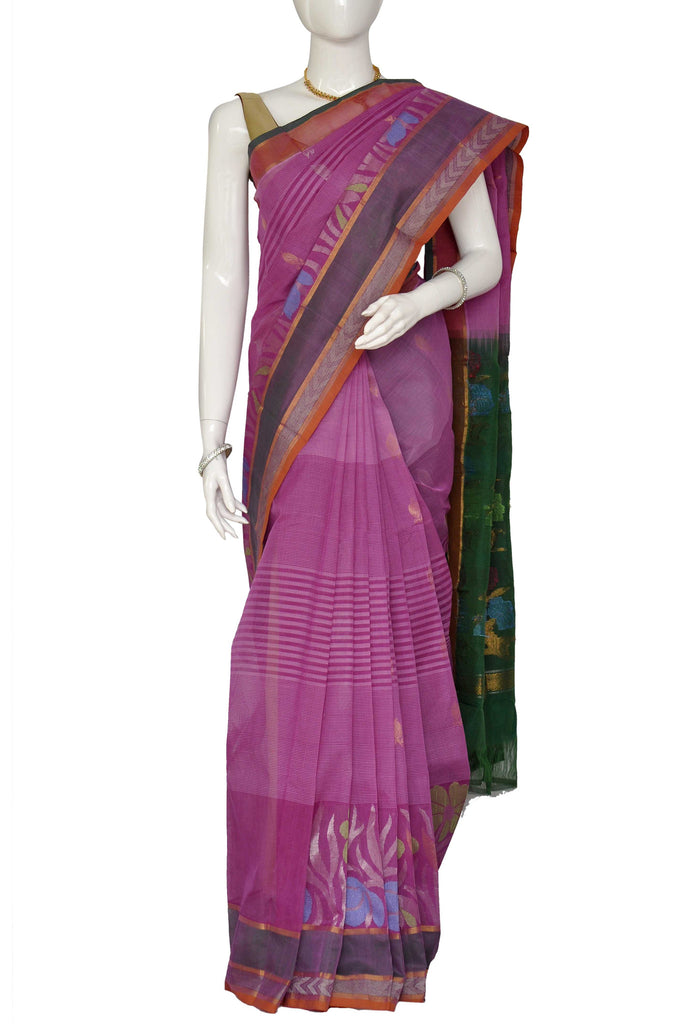 Magenta Jacquard Kanchipuram Handloom Pure Cotton Saree