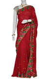 Maroon Embroidered Art Crepe Silk Saree