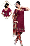 Maroon Embroidered South Pure Cotton Unstitched Salwar Kameez