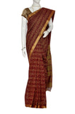 Maroon Printed Kanchipuram Handloom Pure Cotton Saree
