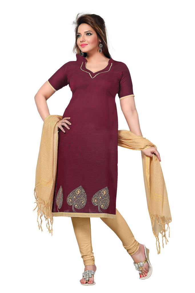 Maroon Printed South Pure Cotton Unstitched Salwar Kameez