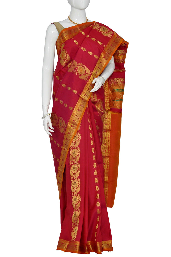 Maroon Pure Kanchipuram Handloom Silk Saree