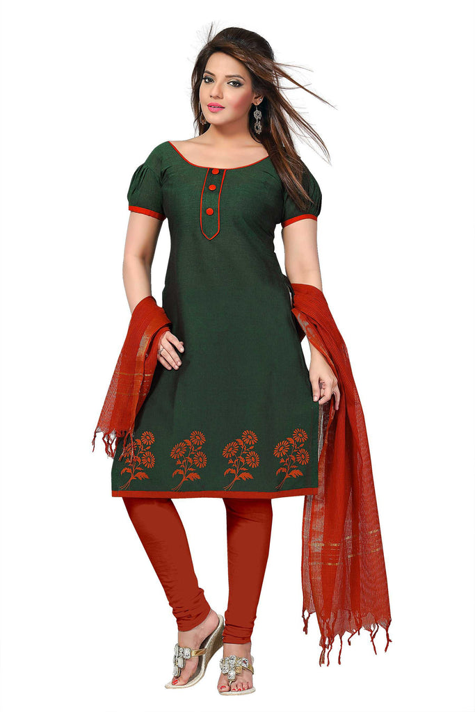 Medium Jungle Green Printed South Pure Cotton Unstitched Salwar Kameez