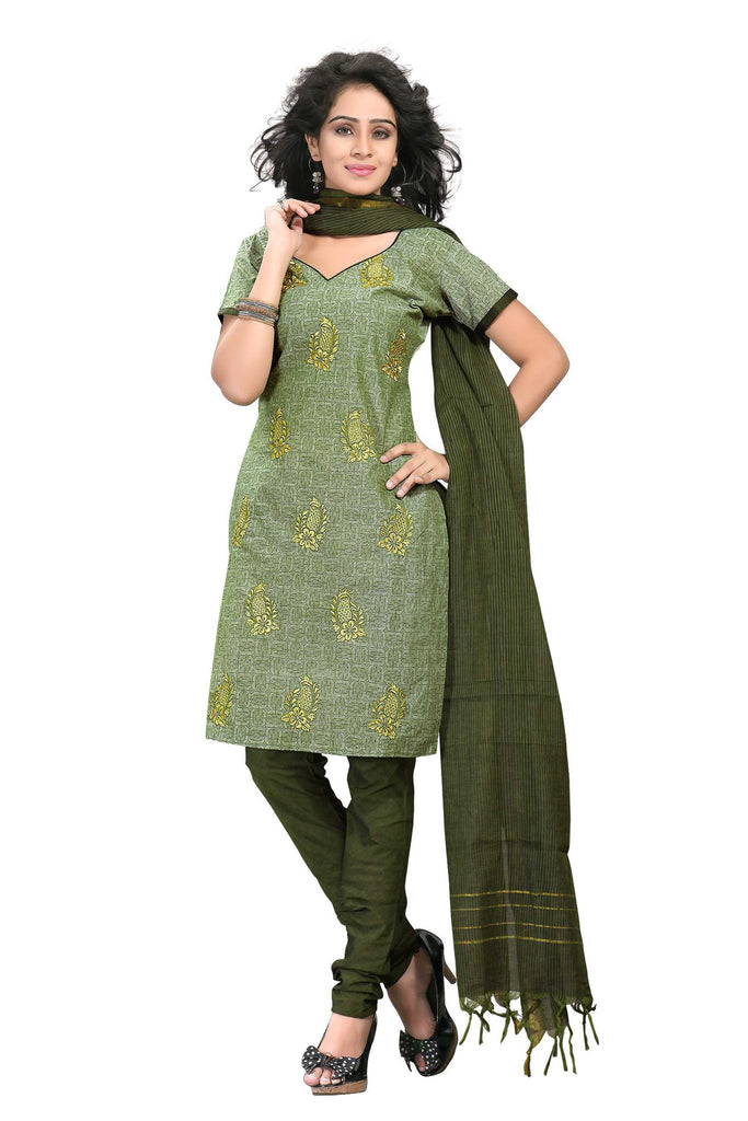 Moss Green Embroidered Ikat Pure Cotton Unstitched Salwar Kameez
