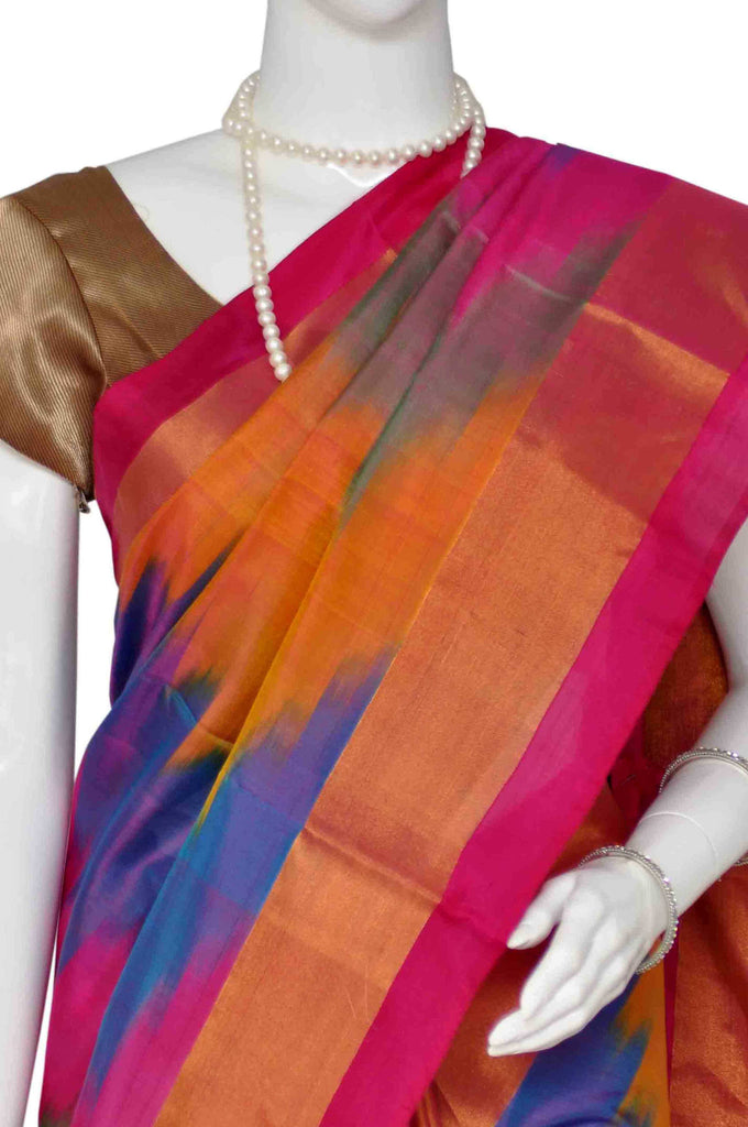 Multi Pure Ikat Handloom Silk Saree