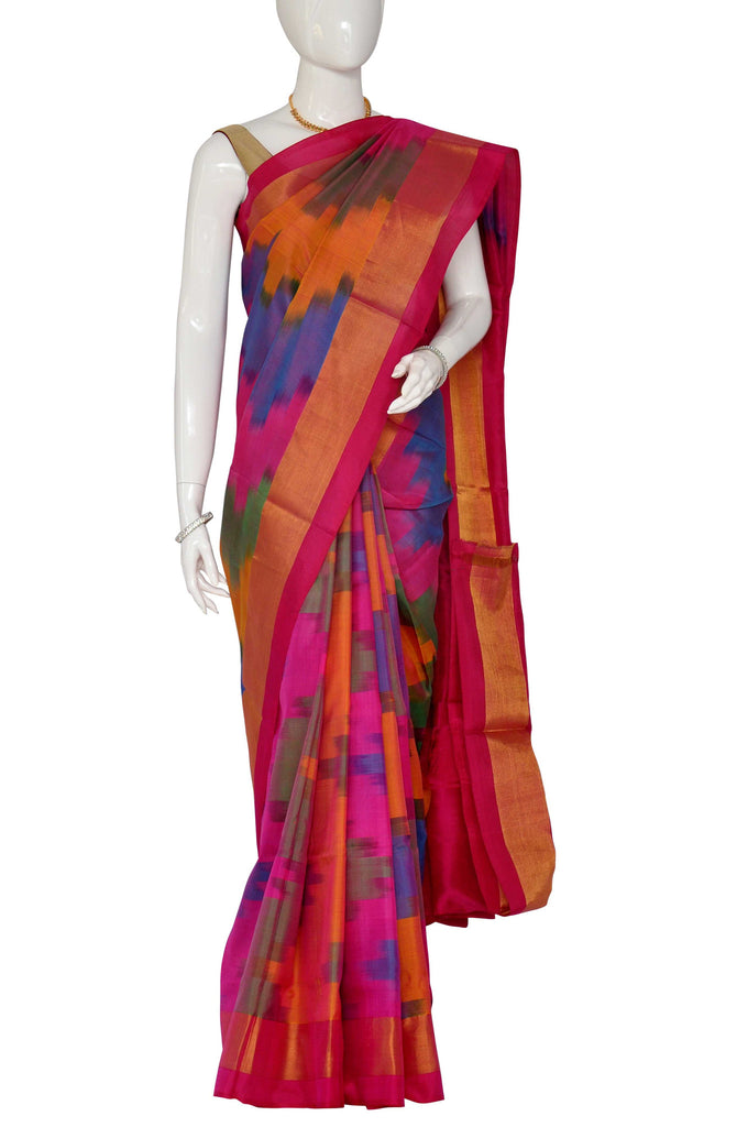 Multi Pure Ikkat Handlloom Silk Saree 913070 Vavarna
