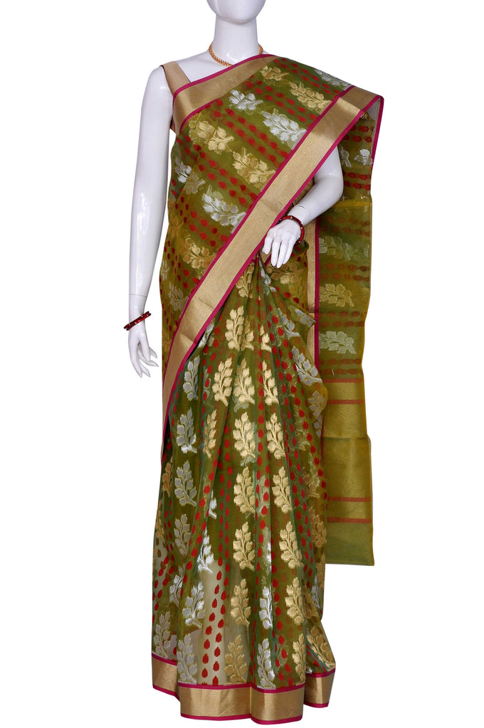 Olive Zari Work Chanderi Fancy Saree