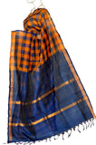 Orange & Blue Mangalagiri Handloom Pure Silk Cotton Saree