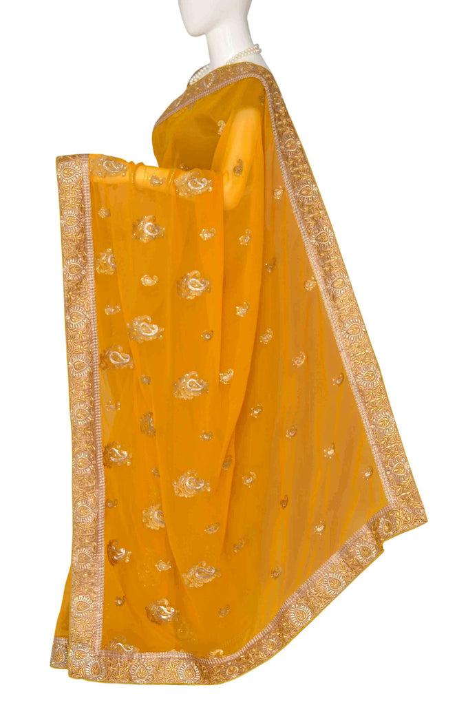 Orange Embroidered Art Georgette Saree