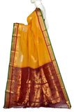 Orange Gadwal Silk Border Handloom Pure Cotton Saree