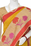 Orange Kora Handloom Pure Cotton Saree