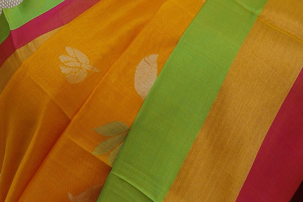 Orange Ksheerapuri Handloom Pure Silk Cotton Saree