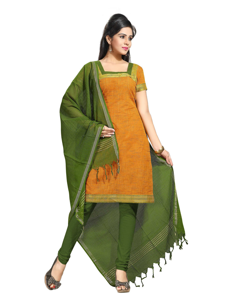 Orange Mangalagiri Pure Cotton Unstitched Salwar Kameez 0911250022
