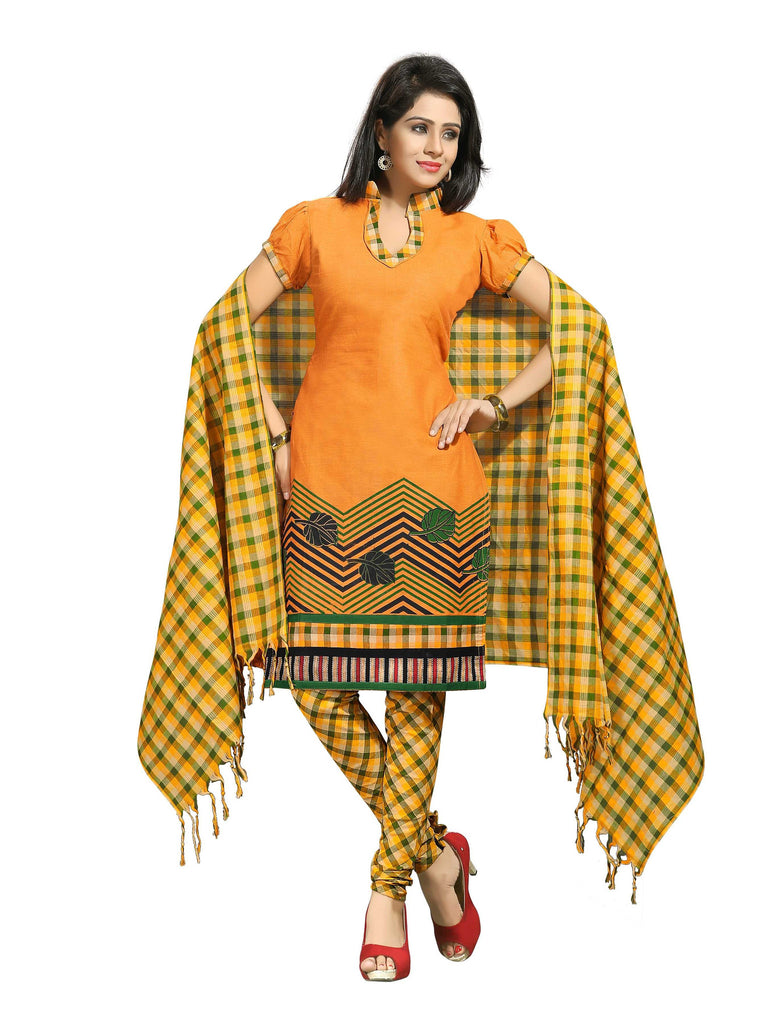 Orange Printed Ikat Pure Cotton Unstitched Salwar Kameez 0511230072
