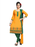 Orange Printed Ikat Pure Cotton Unstitched Salwar Kameez 0511240132