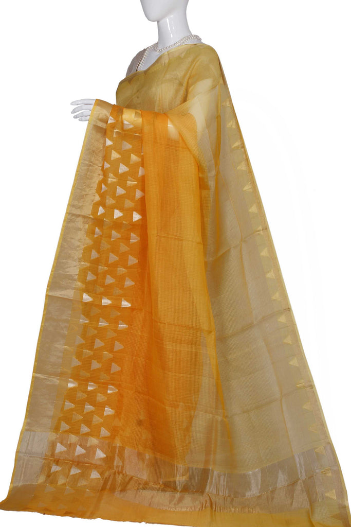Orange Pure Chanderi Handloom Silk Saree