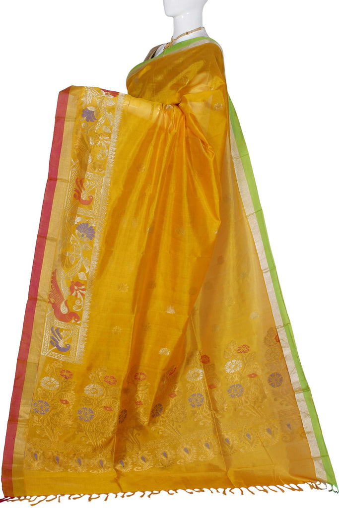 Orange Uppada Handloom Pure Silk Cotton Saree