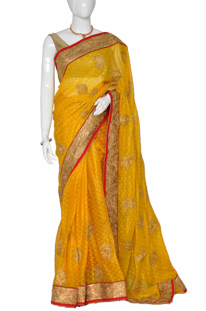 Orange Zardosi Chiffon Saree