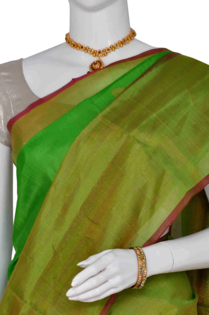 Parrot Green Pure Uppada Handloom Silk Saree