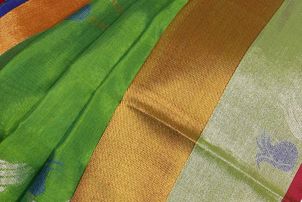 Parrot Green Uppada Handloom Pure Silk Cotton Saree