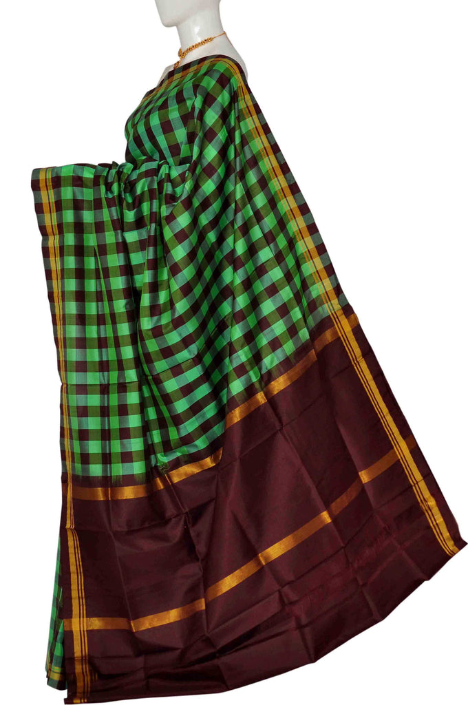 Pastel Green & Maroon Pure Uppada Handloom Silk Saree