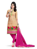 Peach Embroidered Chanderi Pure Cotton Unstitched Salwar Kameez