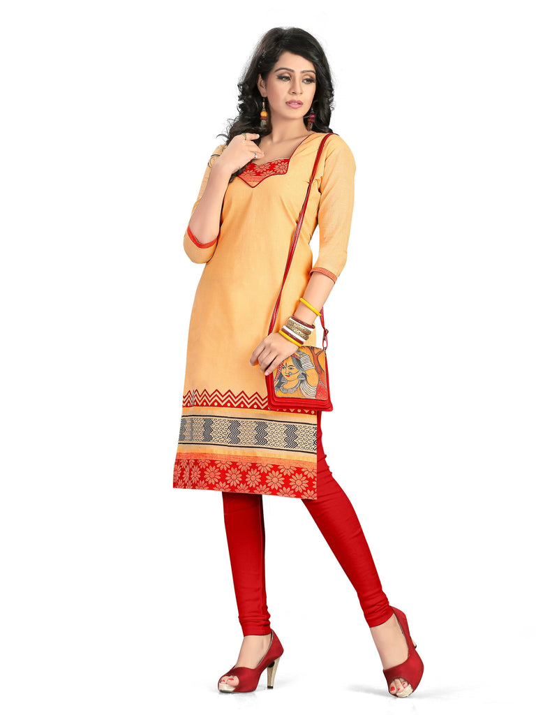 Peach Printed South Pure Cotton Unstitched Salwar Kameez
