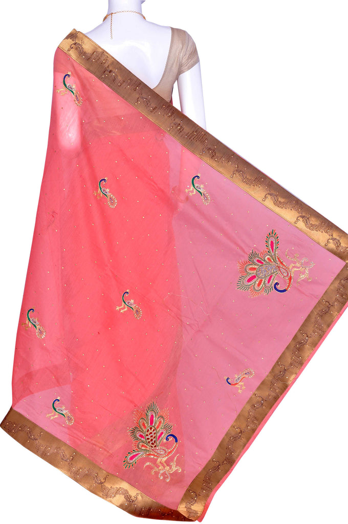 Pink Embroidery Art Silk Saree