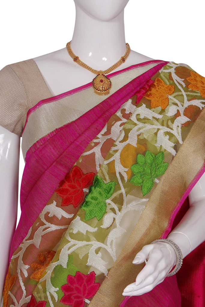 Pink Pure Banaras Brocade Silk Saree
