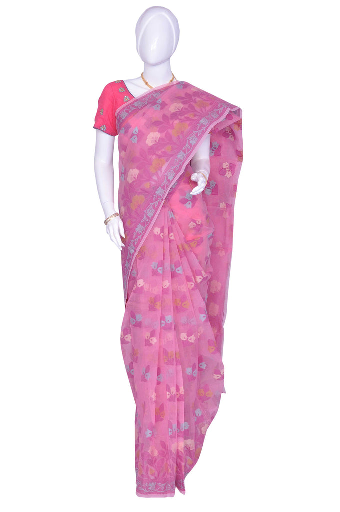 Pink Thread Work Net Saree