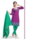 Purple Embroidered Chanderi Pure Cotton Unstitched Salwar Kameez