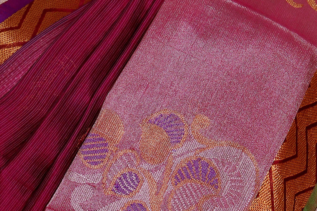 Purple Kanchipuram Handloom Pure Silk Cotton Saree