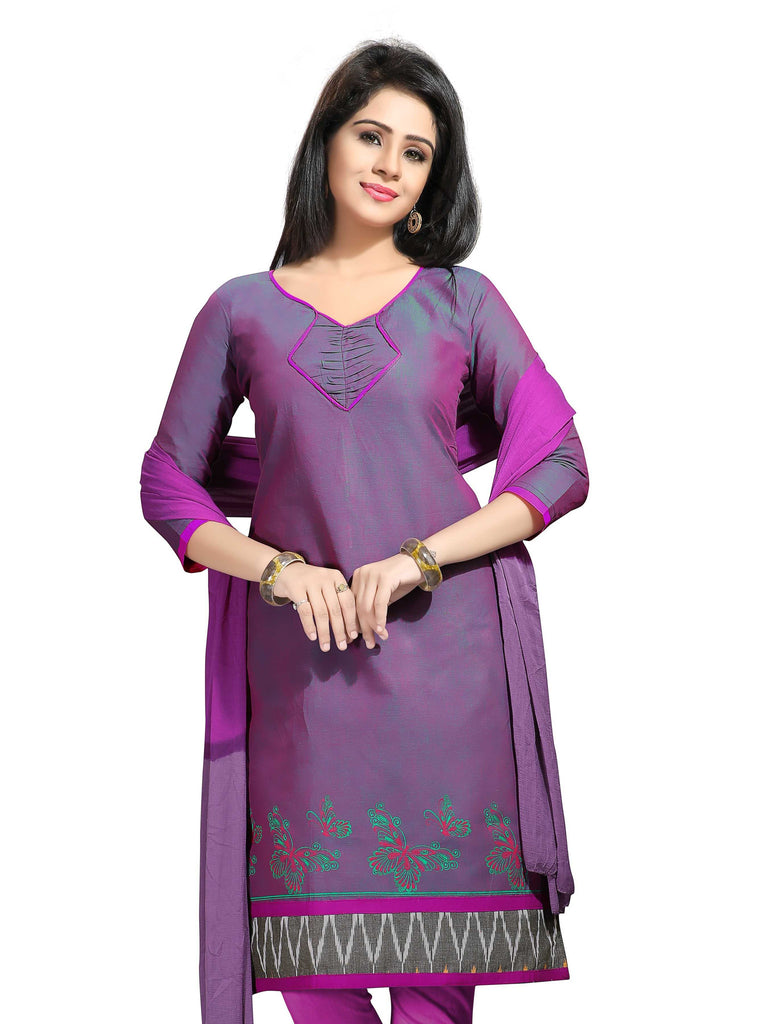 Purple Printed Ikat Pure Cotton Unstitched Salwar Kameez 0511240032