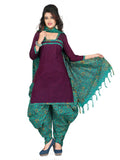 Purple Printed Kalamkari Pure Cotton Unstitched Salwar Kameez