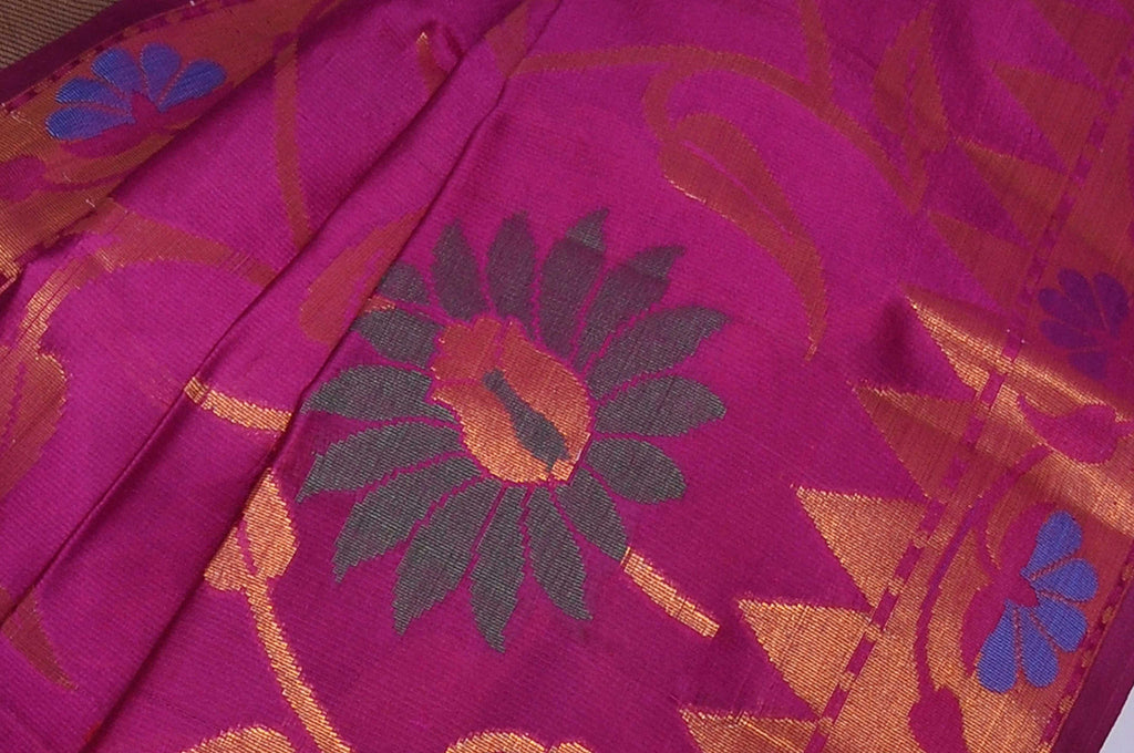 Purple Pure Banaras Dupion Cutwork Silk Saree