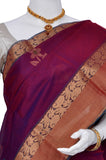 Purple Pure Coimbatore Handloom Raw Silk Saree