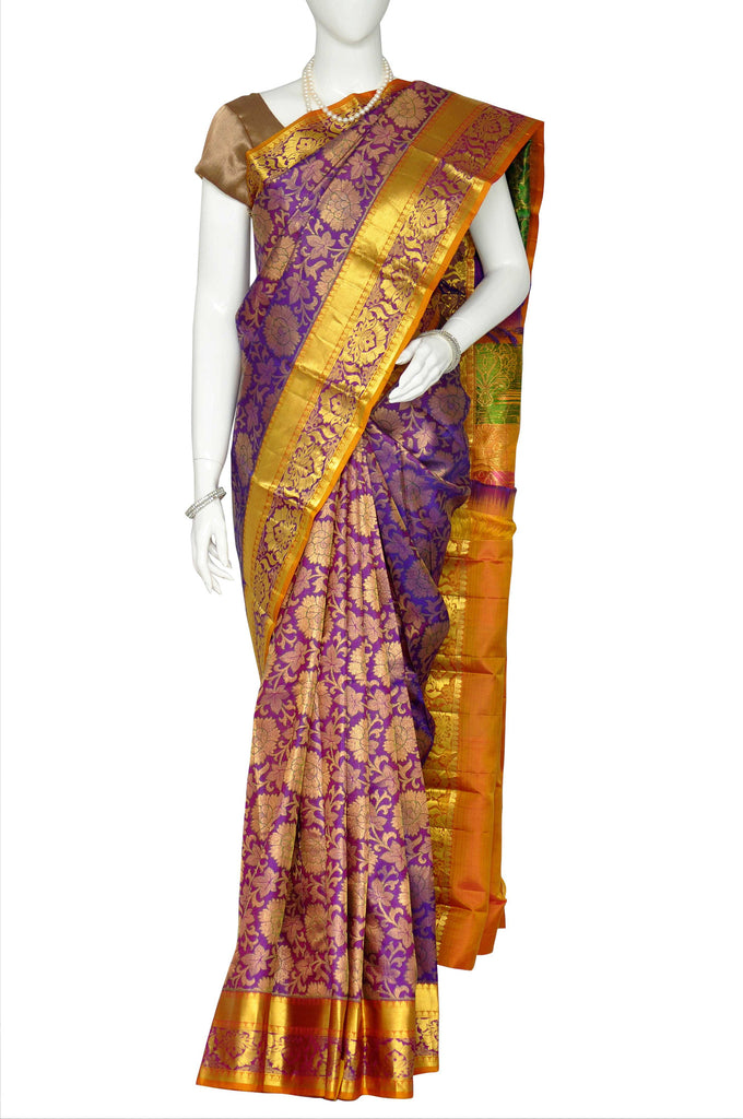 0ed2d53e0 Purple Pure Kanchipuram Handloom Silk Saree 1407070 – VaVarna