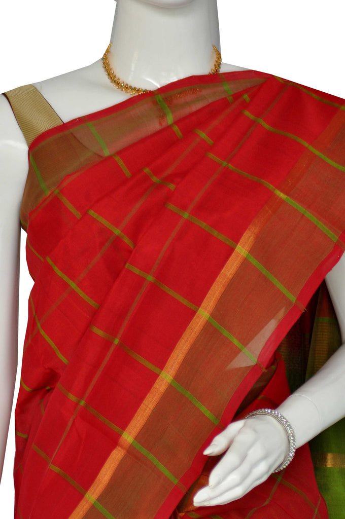 Red Assam Handloom Pure Silk Cotton Saree